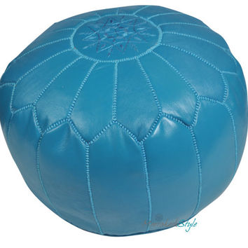 Moroccan Pouf, Turquoise Leather Pouf, Round Ottoman Foot Stool Pouffe