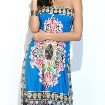 Casual Strapless Smocked Bodice Tribal Printed Shift Dress