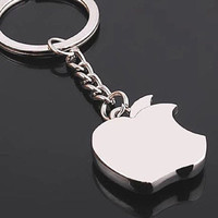 Apple Logo Design  Keyring Silver Polished Metal keychains Shining high quality key chain, elegant addition to your iphone