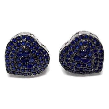 DEEP BLUE CRYSTALS HEART STUDS SILVER PLATED EARRINGS