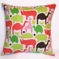 "Pillow Covers 18"" Set of Two - Zoo Animals Pattern"