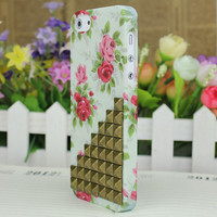 Brass Stud Rose Hard Case Cover for Apple iPhone5 Case, iPhone 5 Cover,iPhone 5 Case, iPhone 5g