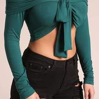 Hunter Green Off Shoulder Front Tie Crop Top