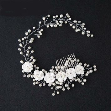Beads Flower Bridal Head Wear With Comb Elegant Wedding Accessories  Bridal Head Accessories Pearl Wedding veil