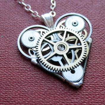 "Mini Mechanical Heart Necklace ""Riposte"" Elegant Industrial Heart Pendant Steampunk Sculpture Gershenson-Gates Mechanical Mind Christmas"