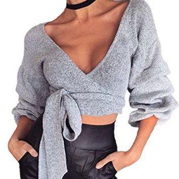 Women's Sexy Plunging Deep V neck Bandage Tie Front Surplice Wrap Crop Top Shirts