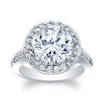 Ladies 14k white gold engagement ring with 4 ct Round Brilliant White Sapphire center 0.70 carats of natural diamonds