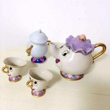 Limited Cartoon Beauty And The Beast Bone China Mug Tea Set Mrs Potts And Chips Teapot Coffee Cup Set Ceramic Cup Xmas Gift