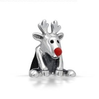 Bling Jewelry 925 Silver Rudolph Red Nose Reindeer Christmas Bead Fits Pandora