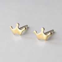 Crown Earring Studs with Sterling Silver Posts - Queen King Princess Royal Jewelry - Brass Golden Jewelry (E186)