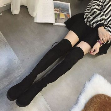 Women Over The Knee Boots Winter 2018 Fur Female Long Martin Boots New Tall Flat Bottomed Flat and Elastic Snow Boots