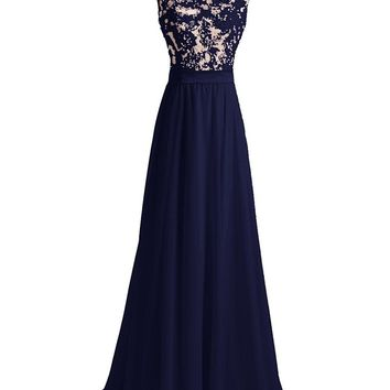 Fashion Plaza Women's Long Lace Flower Scoop Neck Chiffon Prom Dress Train Party Gowns