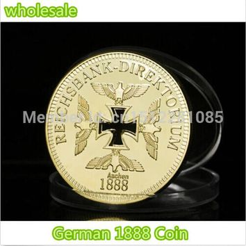 24k Gold plated Clad Reichsbank Aachen 1888 Souvenir Coin,Germ. Hollow Iron Cross 50 pcs/lot