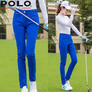 Send Belt ! High Quality Polo Lady Cotton Trousers Slim Trousers Women Golf/Tennis Sportswear Casual Long Pants Clothes Brand