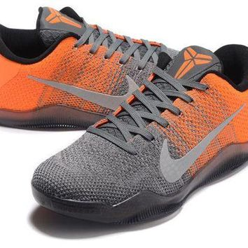 VLX85E Beauty Ticks Nike Kobe Xi Elite Gray/orange Basketball Trainers Size Us7-12