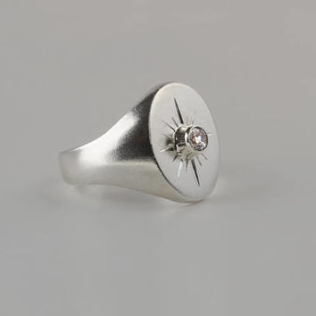 Starburst signet ring - Northstar signet ring in sterling silver