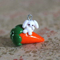 Bunny Rabbit on a Carrot - Polymer Clay Charm