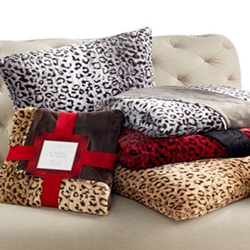 "Charter Club Faux Fur Animal Print Throw 50"" x 60"", Red/Black"