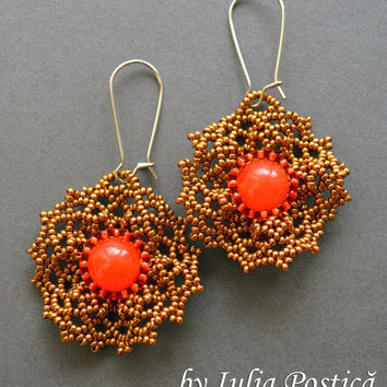 "Beadweaving tutorial for ""Ruffled Lace"" earrings / Beading tutorial / Earring tutorial / Beaded earrings / Beaded lace / TUTORIAL ONLY"