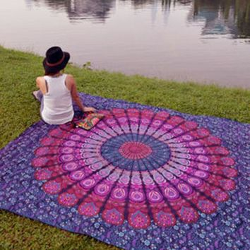 LMF9GW Indian Mandala Tapestry Hippie Home Decorative Wall Hanging Tapestries Boho Beach Towel Yoga Mat Bedspread Table Cloth 210x148cm