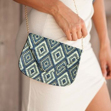 Weave Gotta Get Away Blue And Black Textured Purse