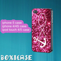 Sparkle infinity and anchor---iphone 4 case,iphone 5 case,ipod touch 4 case,ipod touch 5 case,in plastic,silicone and  black , white.