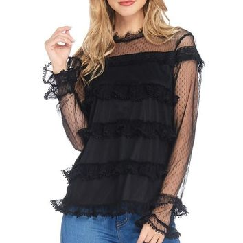 Black Mesh Long Sleeves Ruffled Lace Top