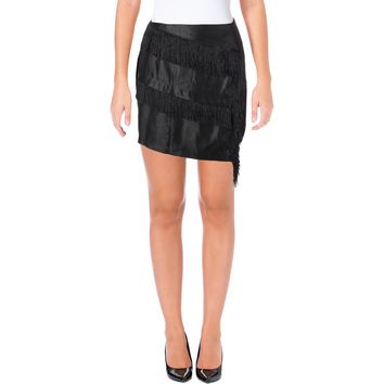JOA Womens Shimmer Fringe Mini Skirt