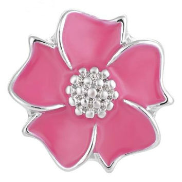Pink Enamel Flower Snap 20mm for Snap Jewelry