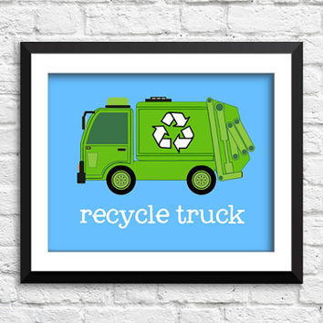 recycle truck art print, garbage truck decor, construction art print, construction decor, baby boy bedroom wall art, nursery art print