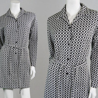Vintage 60s 70s Mini Dress Black & White Houndstooth Dress Monochrome Print Jersey Dress Knit Dress Mod Dress Gogo Dress 1960s Shift Dress