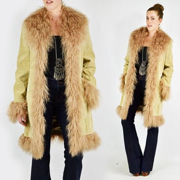 fece3775d2d82 vtg 90s 70s boho hippie beige shaggy MONGOLIAN LAMB fur collar cuff SUEDE  leather coat jacket