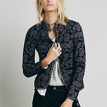 Free People Womens Paisley Quilted Jacket