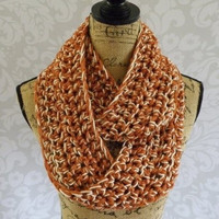 Infinity Scarf Crochet Burnt Pumpkin Orange and Ivory Gold Sparkle Women's Accessories Eternity Fall Winter