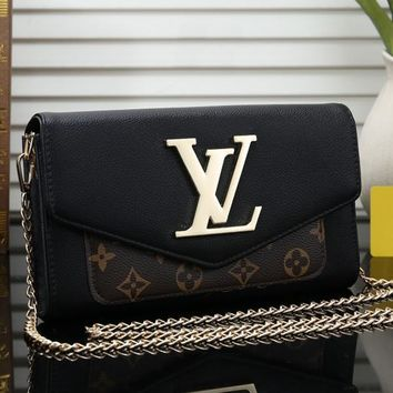 Louis Vuitton LV Women Shopping Leather Chain Satchel Shoulder Bag Crossbody