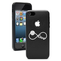 Apple iPhone 5 5S Black 5D3538 Aluminum & Silicone Case Cover Infinity Infinite Love for Volleyball
