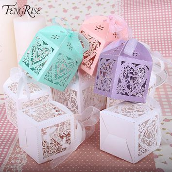 50 pcs Wedding Favors Paper Box Laser Cut  10 Color Options