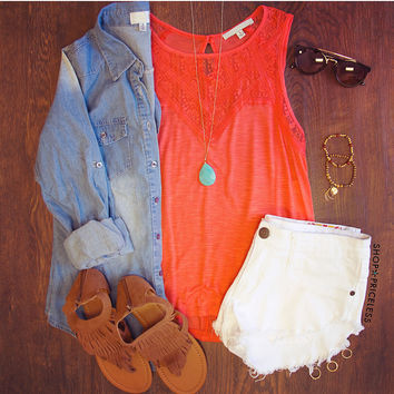 Simply Irresistible Lace Top - Coral
