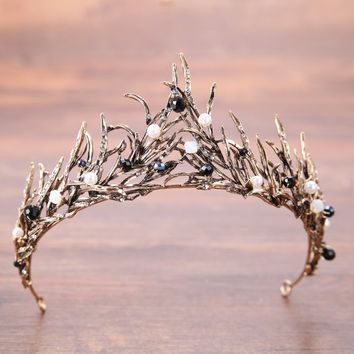 Cosplay Crystal Wedding Crown Tiaras Rhinestones Copper Diadem Tiaras Jewelry Accessories