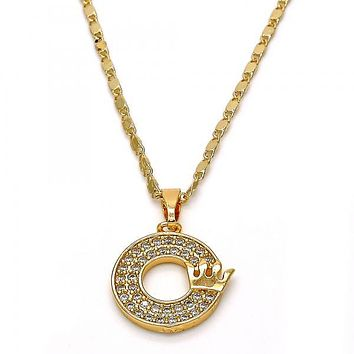 Gold Layered 04.282.0002.18 Fancy Necklace, Crown Design, with White Cubic Zirconia, Polished Finish, Gold Tone