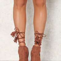 Tan Suedette Lace Up Cut Out Booties