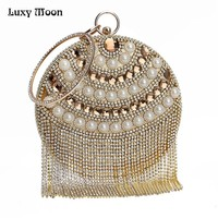 Luxy Moon Diamond Clutch Beaded Tassled Purse banquet Handbag ZD640