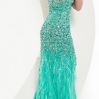 SALE! Jasz Couture 2013 Prom -Strapless Aqua Feather Gown With Rhinestones - Unique Vintage - Prom dresses, retro dresses, retro swimsuits.