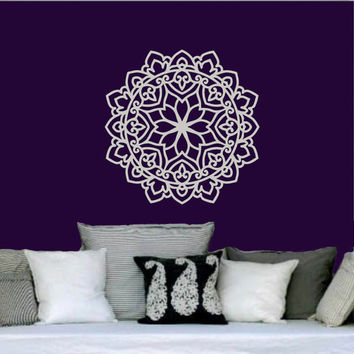 Mandala Wall Decal Namaste Flower Mandala Indian Lotus Yoga Wall Decals Vinyl Sticker Interior Home Decor Art Wall Decor Bedroom SV6024