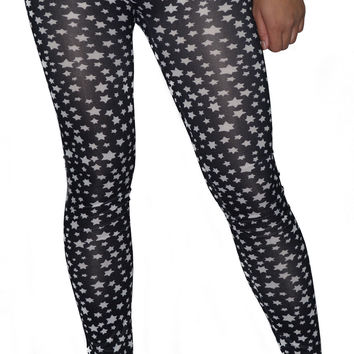 BadAssLeggings Women's Six Point Stars Leggings Size Medium Black