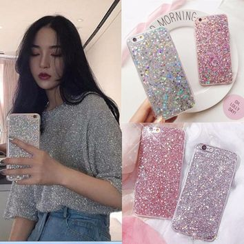 Fashion Bling Powder Sequins Girl Phone Case For iPhone 7 6S 8 Plus Soft Silicone Glitter Back Cover For iPhone X XS 6 S 5 5S SE