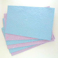 Homemade Paper, Recycled Cardstock, Blue and Purple, 5x8