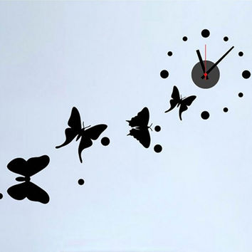New Black Butterfly Wall Clock Wall Decal Sticker Real Clock Wall Sticker Home Decor