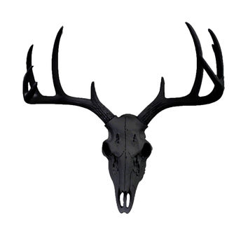 The MINI Black Faux Taxidermy Resin Deer Head Skull Wall Mount | Black Deer Head Skull w/ Colored Antlers