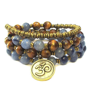 Tranquility and Prosperity, Kyanite and Tiger's eye 54 bead wrap mala bracelet